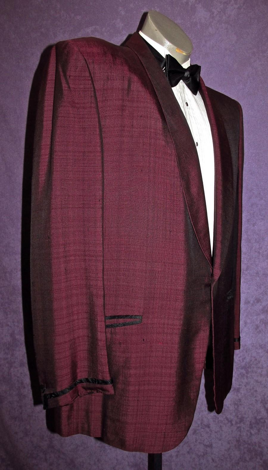 Wedding - 50s Tux Jacket 43R -45R Maroon Burgundy Vintage Tuxedo Early 60s 80s Early Motown Rat Pack Dinner West Side Story by Lord West Union Label