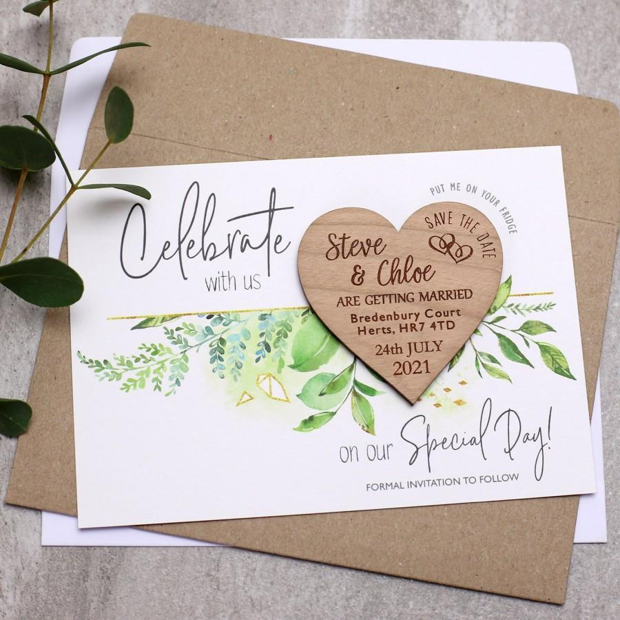 Mariage - Save The Date Magnet with cards, Wooden Save The Dates, Personalised Wedding Invitation, Foliage Spring Summer, Heart Save-The-Date