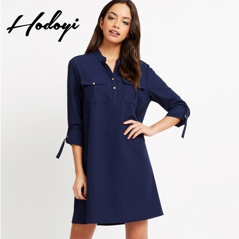 زفاف - Office Wear Oversized Vogue 3/4 Sleeves Pocket One Color Summer Dress - Bonny YZOZO Boutique Store