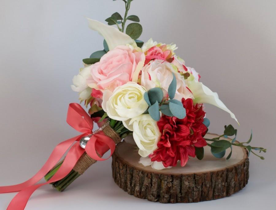Hochzeit - Ivory Coral Fuschia Pink Wedding Bouquet Charm Alternative