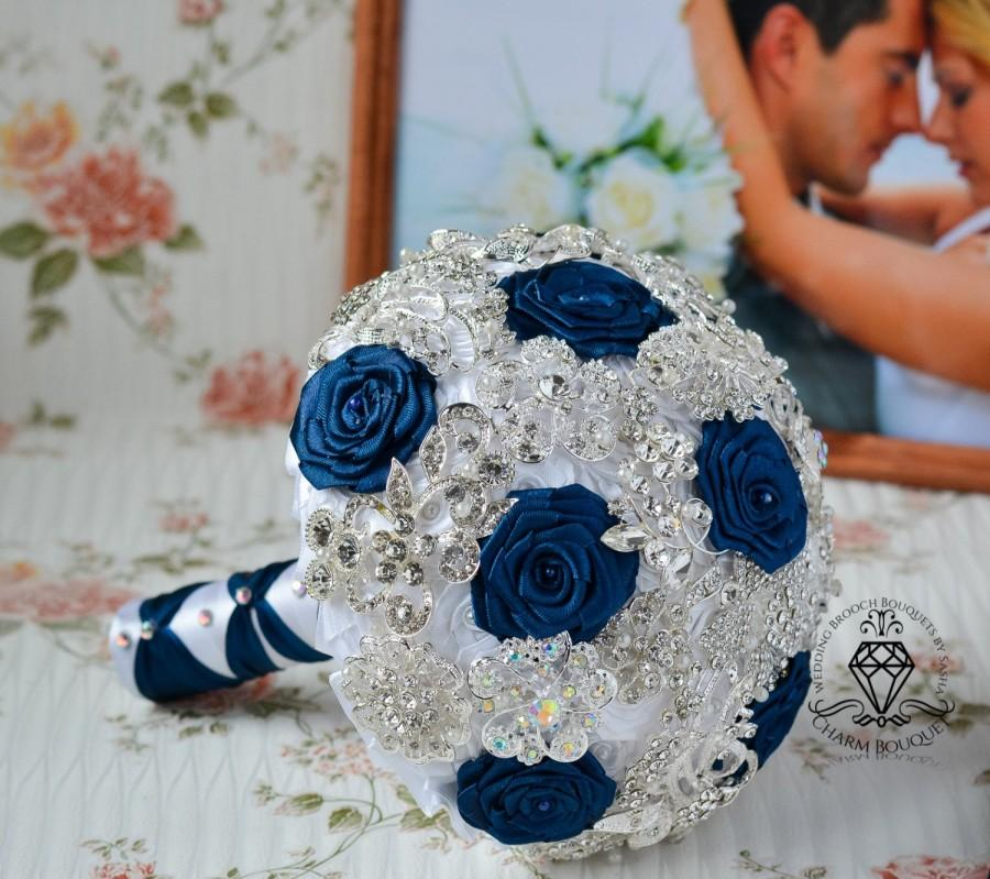 زفاف - Navy blue bouquet, White bouquet, Brooch Bouquet, Wedding Bouquet, Bridal Bouquet, Crystal bouquet, Bridesmaids bouquet, Silver Bouquet