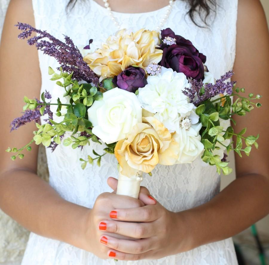 Mariage - Plum Purple Gold Wedding Bouquet Charm Alternative Brooch