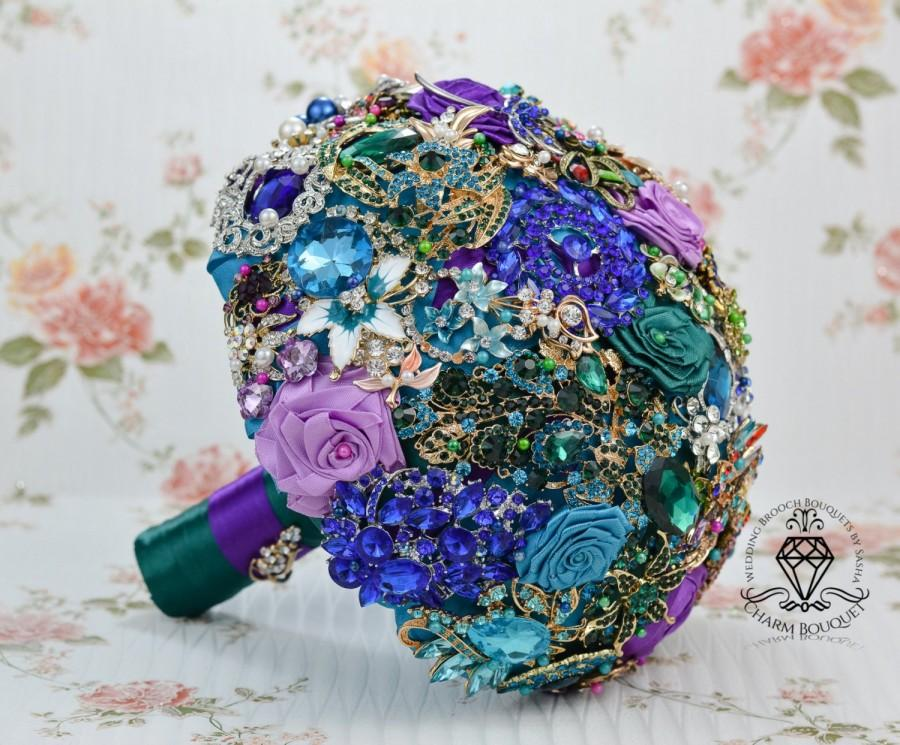 Mariage - Brooch bouquet, Bridal bouquet, Bride bouquet, Broach bouquet, Green bouquet, Peacock bouquet, Bridesmaids bouquet, Crystal bouquet, Wedding