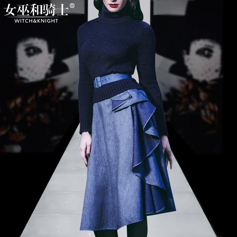Свадьба - 2017 new custom women Polo Lady's sweater high neck sweater for fall/winter denim dresses skirts wavy set - Bonny YZOZO Boutique Store