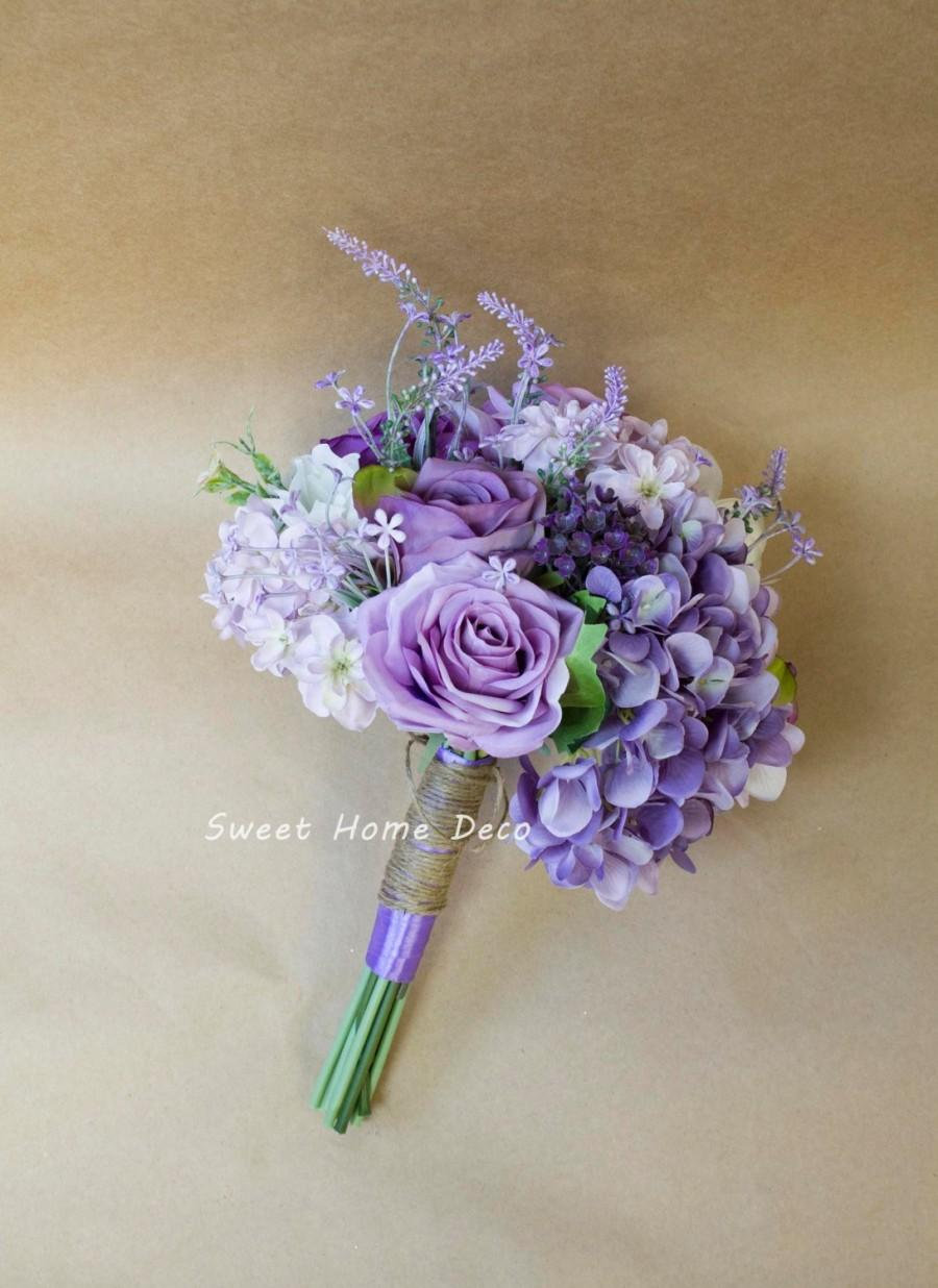 Wedding - JennysFlowerShop Silk Mixed Floral Rustic Wedding Bouquet in Lavender Purple Ivory Bridal Bouquet Bridesmaid Bouquet Boutonniere