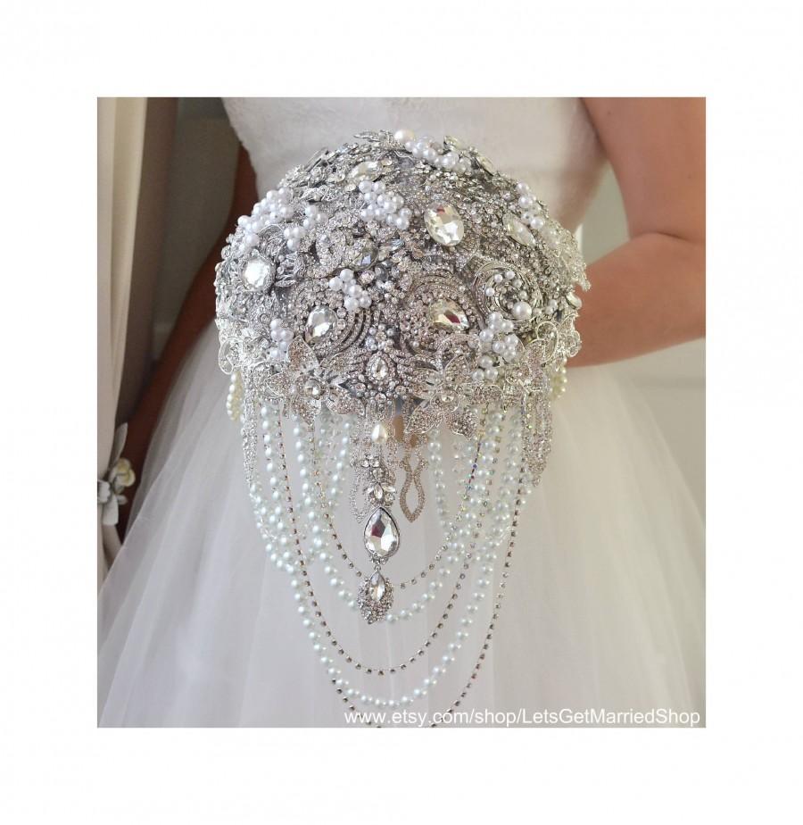 Wedding - Brooch bouquet, Teardrop cascading silver and gray jeweled, Luxury design for royal wedding style, Pearl rhinestone jewelry crystal weddings