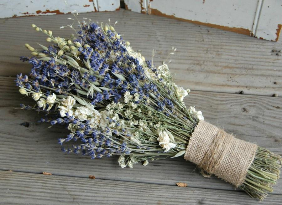 Свадьба - Bridal Bouquet / Dried Lavender Bouquet / Dried Flower Bouquet / Wedding Flowers