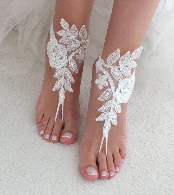 Hochzeit - Wedding Shoes, White Sequined Lace Barefoot Sandals, Beach Wedding Barefoot Sandals, Wedding Anklets, Summer Wear, Wrist Sandals, Bridesmaid