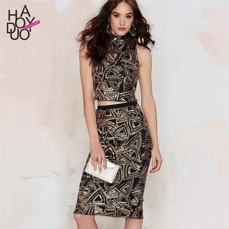 Wedding - Elegant Sexy Embroidery Sheath Sequined Gold Skirt - Bonny YZOZO Boutique Store