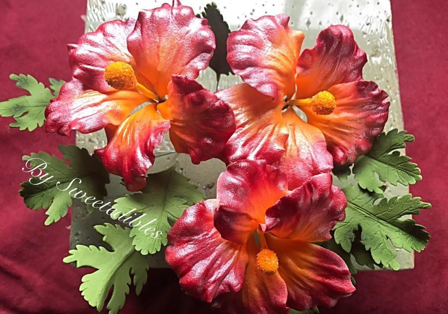 Свадьба - Gum Paste Hawaiian Hibiscus Flower Cake Decorations Red Gumpaste