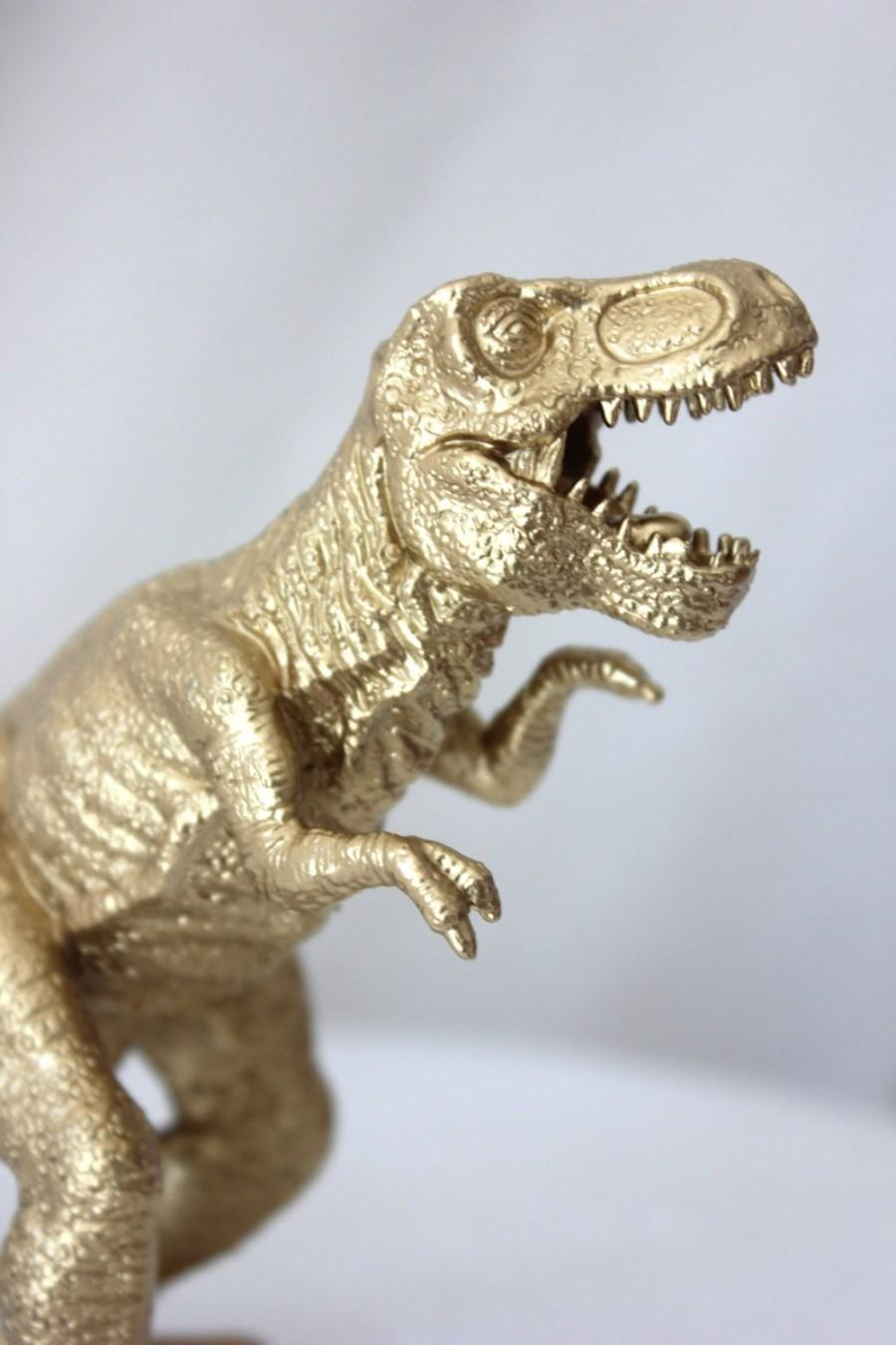 Свадьба - GOLD DINOSAUR Cake Topper T Rex Tyrannosaurus Figurine Animal Figurines Whimsical Vintage Golden Dino  Party Birthday Photo Prop Glam Chic