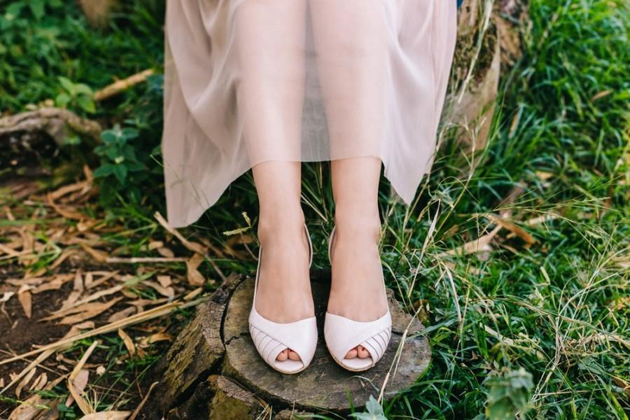 Hochzeit - Ingrid Blush Peep Toe Bridal Kitten Heel, Vegan Summer Wedding Low Heeled Shoe, Mother of the Bride Heels