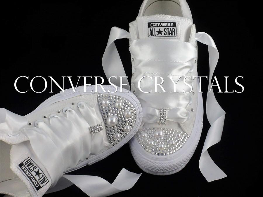 Hochzeit - Wedding Bridal Custom Mono White Converse - All Sizes inc Half sizes