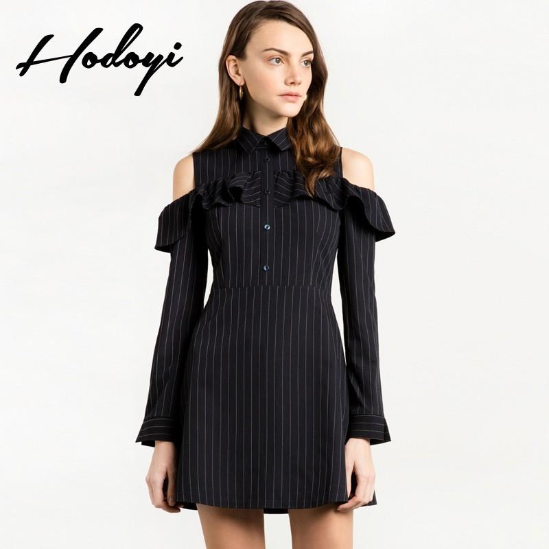 Mariage - 2017 summer new sweet fashion A-line stripe shirt dress Lotus leaf off shoulder long sleeve short dress - Bonny YZOZO Boutique Store