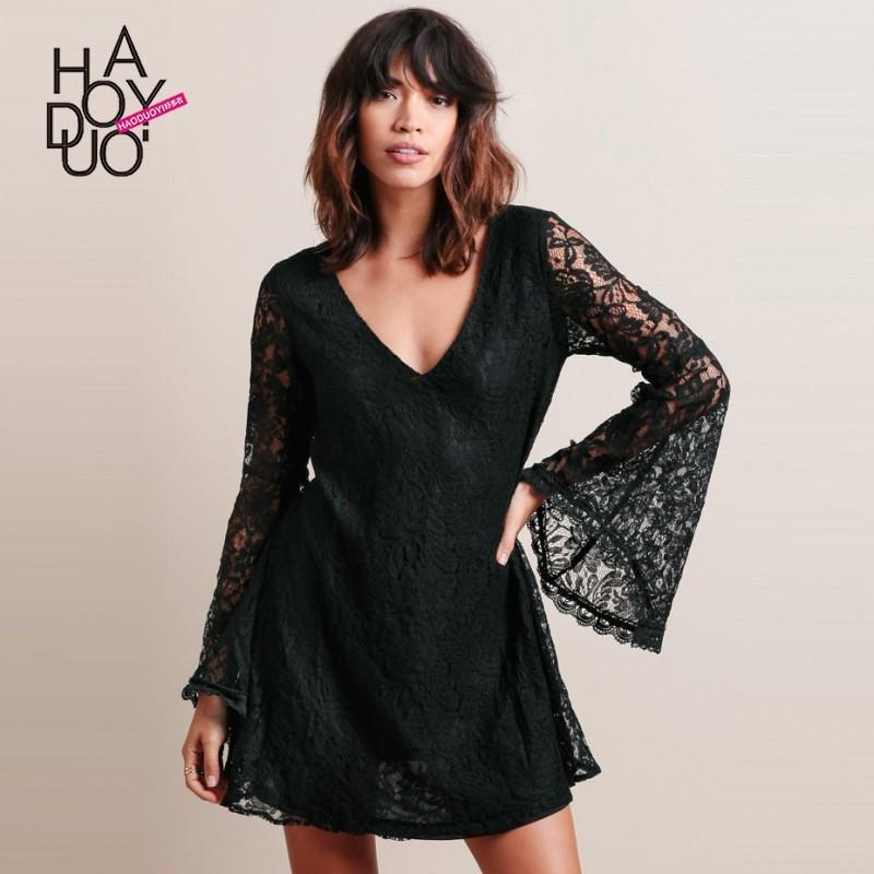 Свадьба - Vogue Open Back Hollow Out Flare Sleeves Fall Lace Dress - Bonny YZOZO Boutique Store