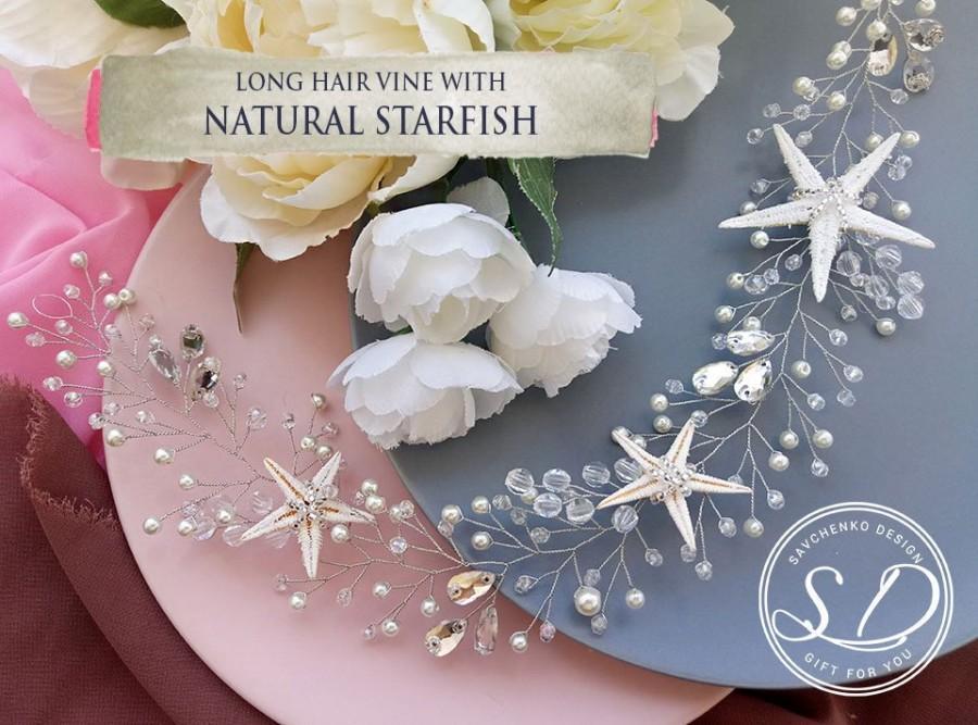 Hochzeit - Starfish Hair Vine Beach wedding hair accessories Seashell crown Beach wedding headband Nautical hair accessories Mermaid tiara for girls