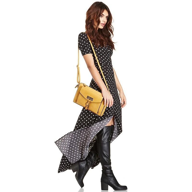 Свадьба - Sexy Vintage Slimming V-neck Polka Dot Black & White Fall Split Dress - Bonny YZOZO Boutique Store