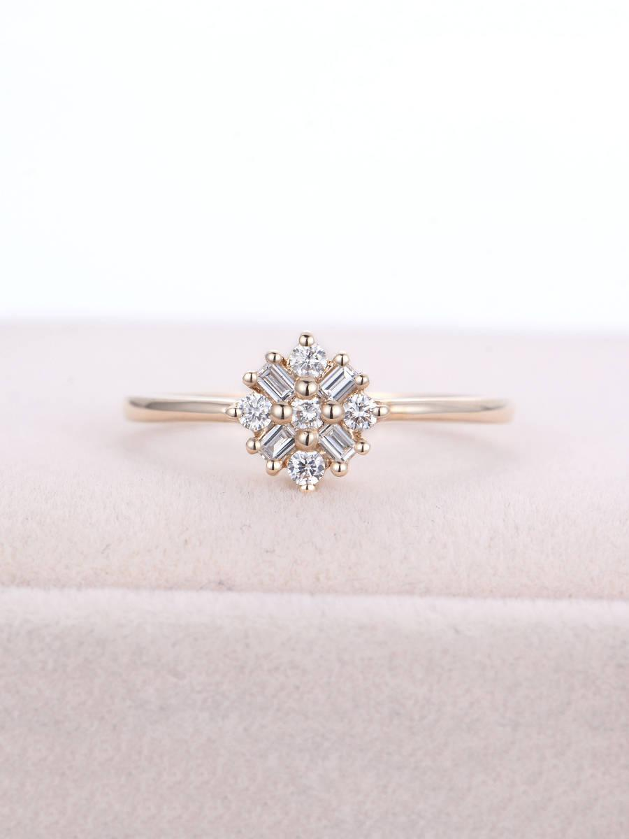 Wedding - Cluster Ring 14K Gold Unique Diamond Engagement Ring Antique Baguette Snowflake Flower Wedding Women Bridal Anniversary Gifts For Her