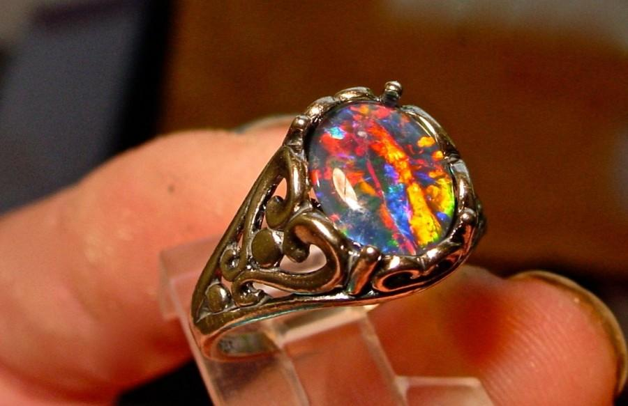 Hochzeit - Opal Engagement Ring.Spectacular Genuine Australian Natural Opal ring.Large 10x8mm Real Opal Triplet Gemstone.Filigree Sterling Silver/Gold