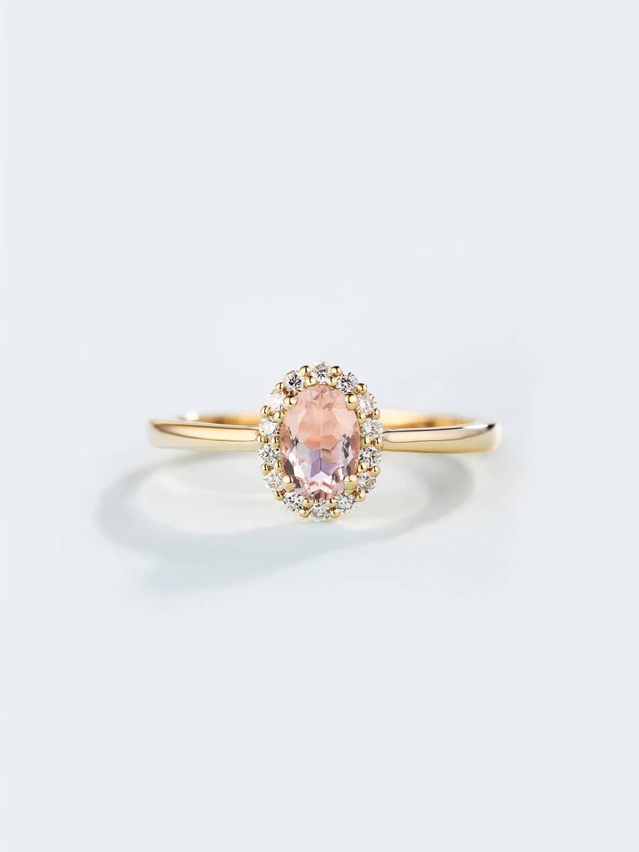 Hochzeit - Morganite Engagement Ring Vintage engagement ring Women Oval cut Wedding Diamond Halo set Bridal Jewelry Promise Anniversary gift for her