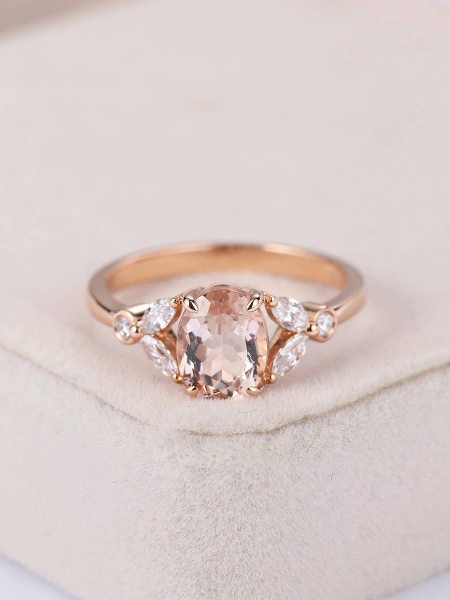 Hochzeit - Rose gold Engagement ring Vintage Morganite engagement ring Women Wedding Diamond Antique Marquise Oval cut Bridal set Anniversary Gift