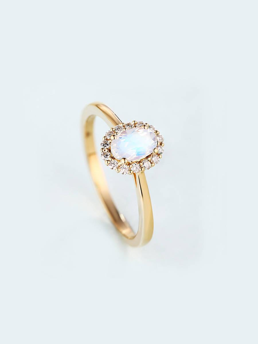 Hochzeit - Moonstone Engagement Ring Oval cut engagement ring Women Wedding Diamond  Vintage Antique Halo set Bridal Jewelry Anniversary gift for her