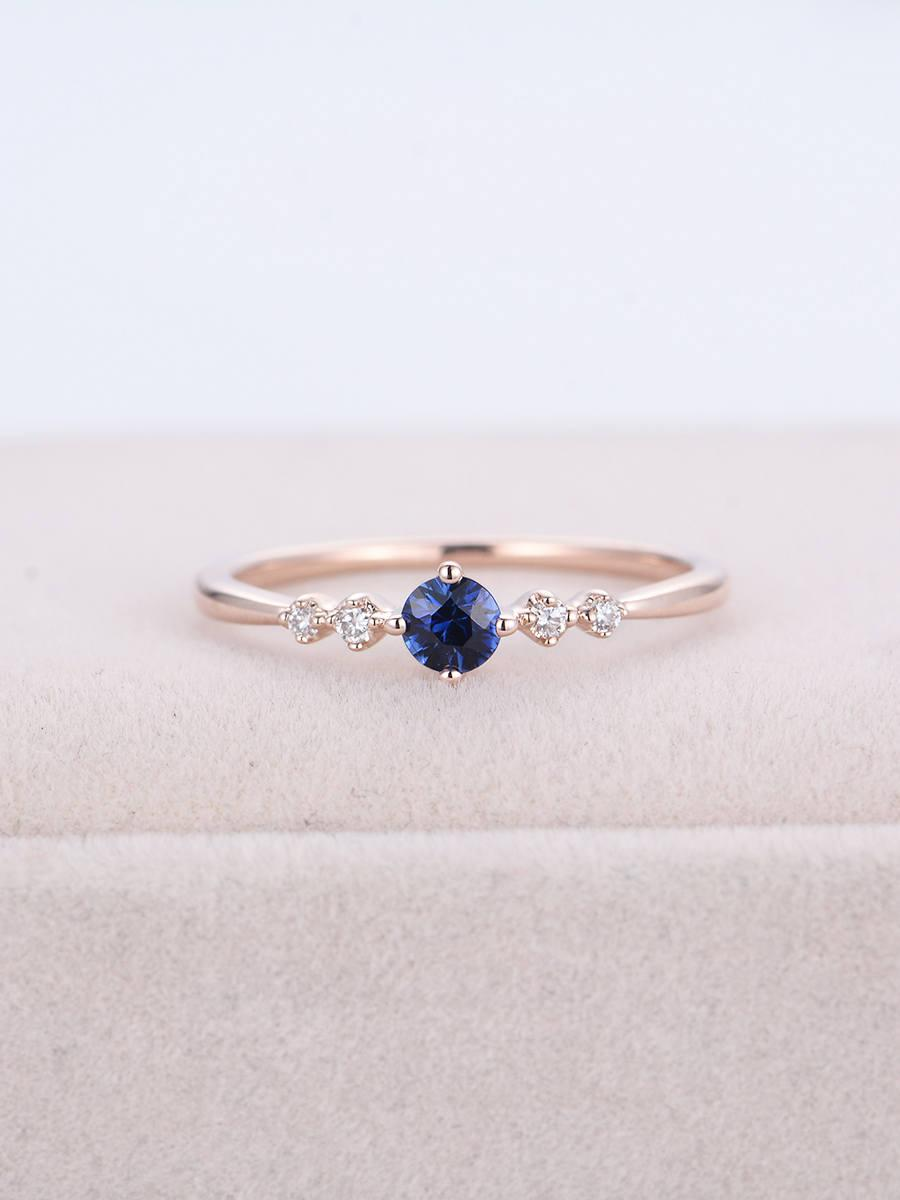 Sapphire Engagement Ring Rose Gold Cluster Diamond Ring Women