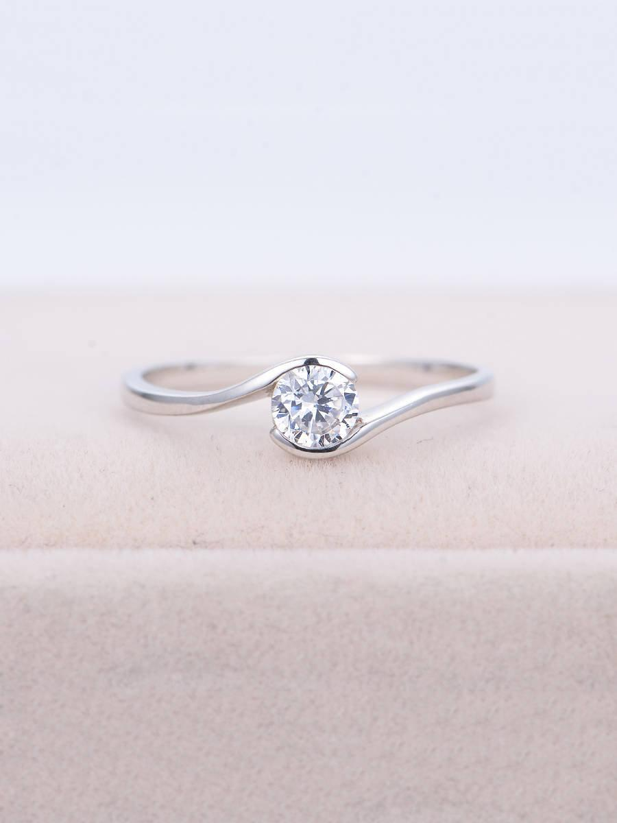 Moissanite engagement ring Unique engagement ring Women Wedding Solitaire  Twist Bridal Jewelry Delicate Promise Anniversary gift for her 1e08d40c4e16
