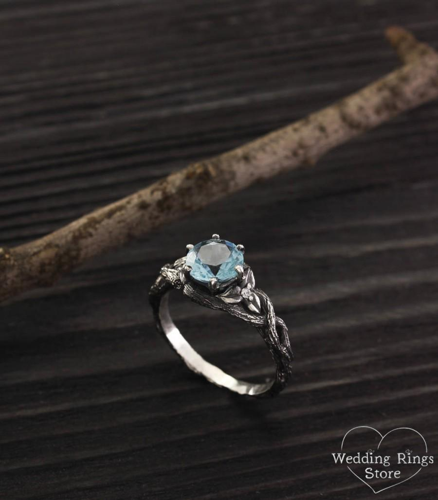 Wedding - Unique branch engagement ring with topaz, Topaz twig engagement ring, Tree womens ring, Unique engagement ring, Unique women's gift
