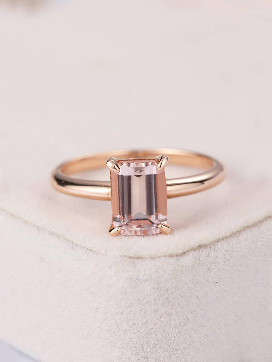 Hochzeit - Rose gold Engagement ring Morganite engagement ring Emerald cut Solitaire Women Wedding Bridal set Anniversary Jewelry Promise Gift for her