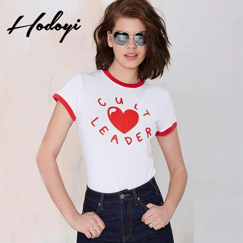 Wedding - Sweet summer 2017 new Cult Leader letter printing color red and white short sleeve t-shirt - Bonny YZOZO Boutique Store