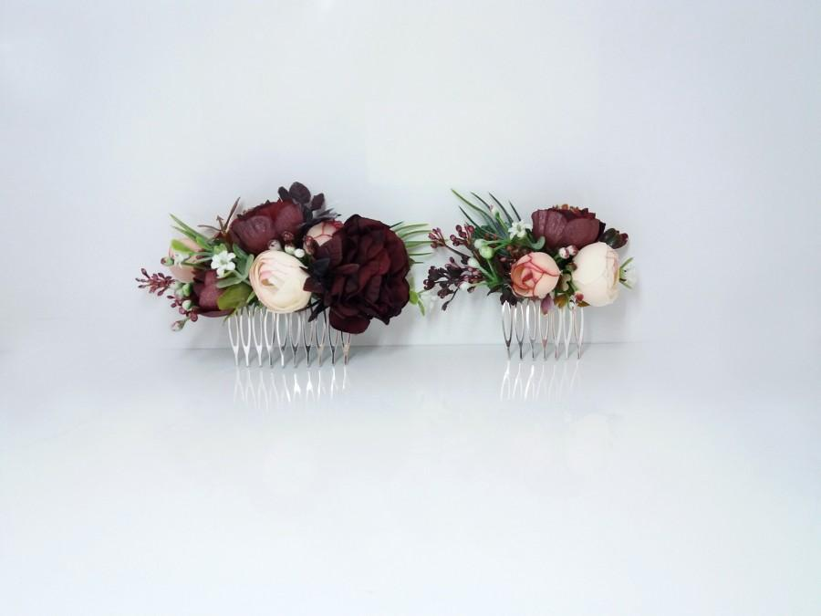 d6cb46900573f Burgundy Blush Flower Comb, Maroon Peony Comb,Wedding Flower Comb ...