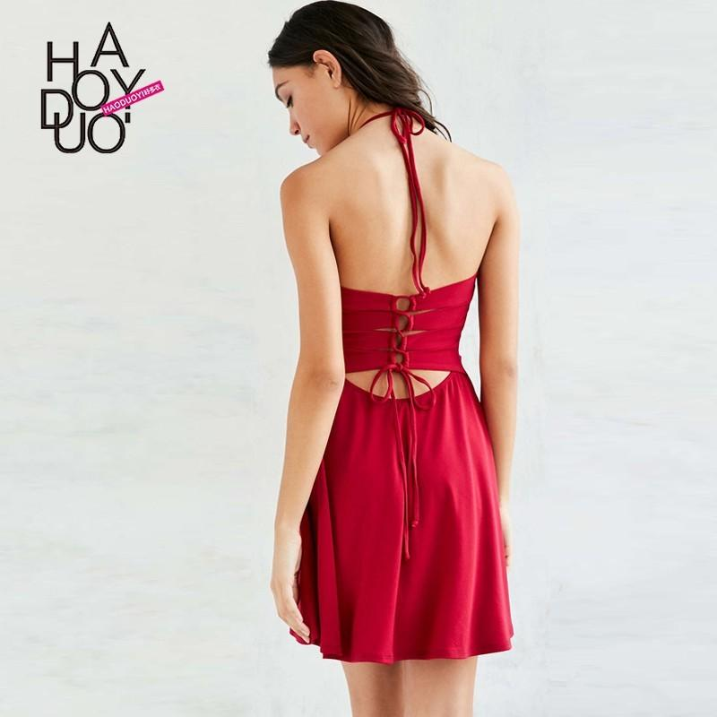 Wedding - 2017 summer dress new sexy Halter bandage weave a word sweet hanging neck dress - Bonny YZOZO Boutique Store