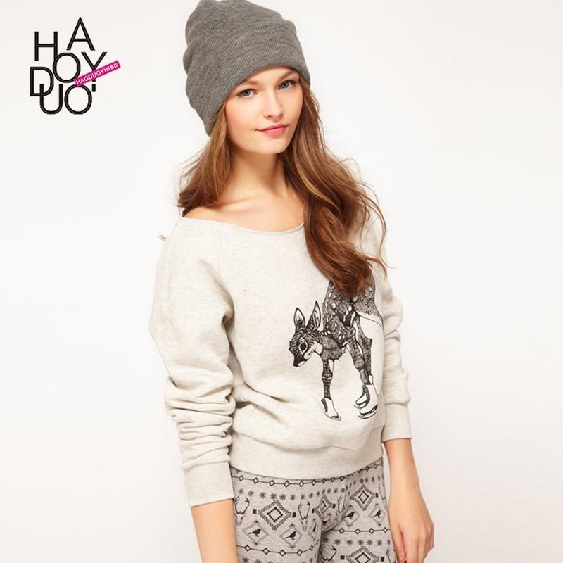 Mariage - Vogue Printed Scoop Neck Deer Fall Casual Hoodie - Bonny YZOZO Boutique Store