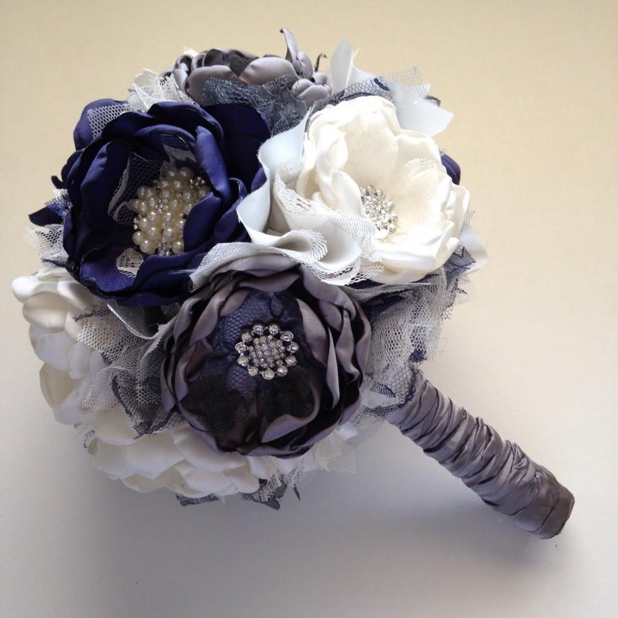 Mariage - Fabric Bouquet - Large Size - Cream, Navy Blue and Charcoal Grey - Bridal Bouquet, Fabric Flower Bouquet, Herloom Bouquet, Navy Wedding