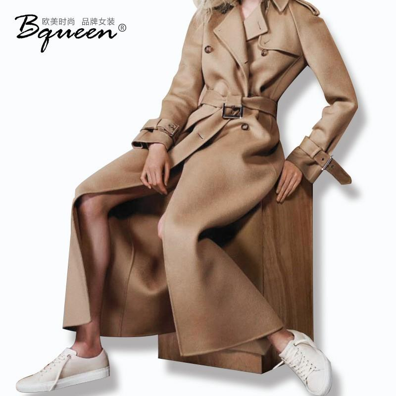 Wedding - 2017 winter new style women's lapel double breasted wool coat long trench coat overcoat - Bonny YZOZO Boutique Store