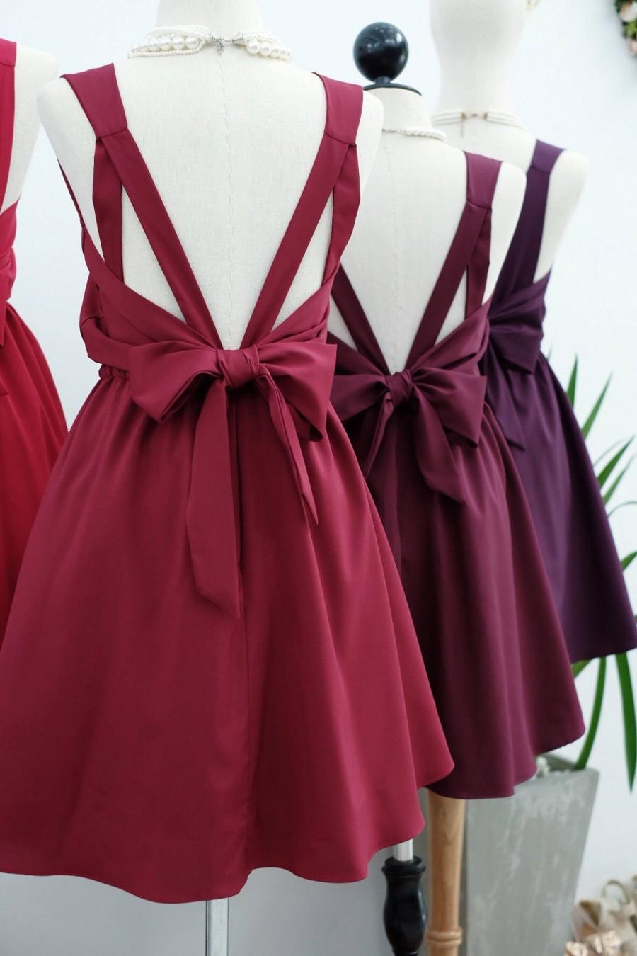 Wedding - Dark red dress Red Burgundy Bridesmaid dress Wedding Prom dress Cocktail Party dress Evening dress Backless bow dress