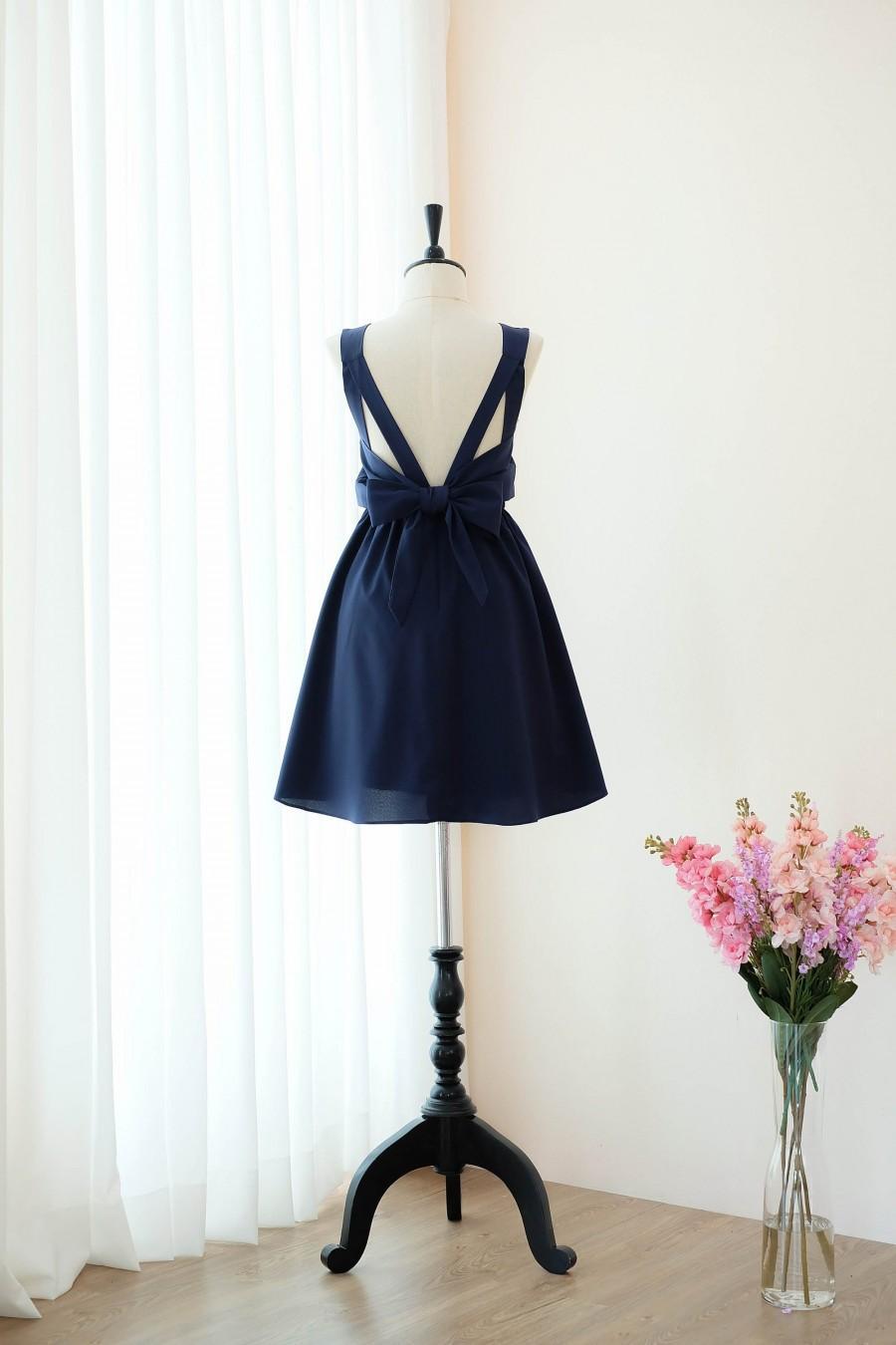 Mariage - Navy dress Navy Bridesmaid dress Wedding Prom dress Cocktail Party dress Evening dress Backless bow dress