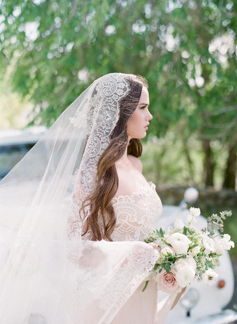 Wedding - Bridal veil 2017-Bridal drop veil-double layer veil-Cathedral veil-wedding veil-fingertip-lace blusher veil-cathedral veil-style 210