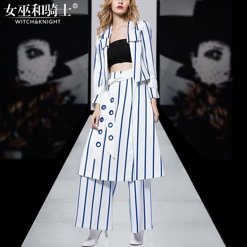 Wedding - Spring 2017 new stylish stripes small suit skirt three piece high-end show wide leg pants - Bonny YZOZO Boutique Store