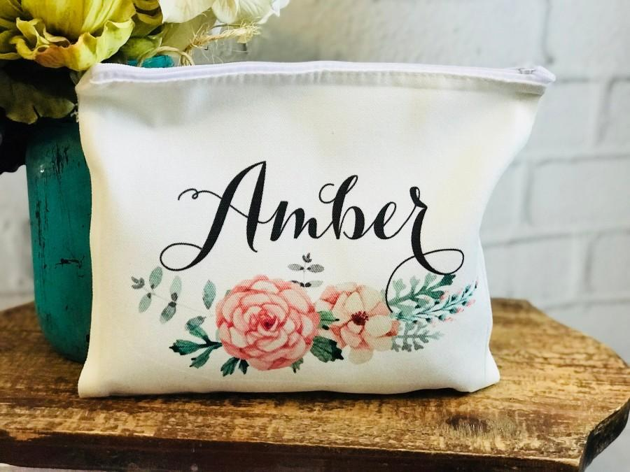 Mariage - bridesmaid makeup bag, personalized makeup bag for bridesmaid, makeup bag with name, makeup bag set of 5, 6, 7, 8, 9, 10, bridesmaid gift