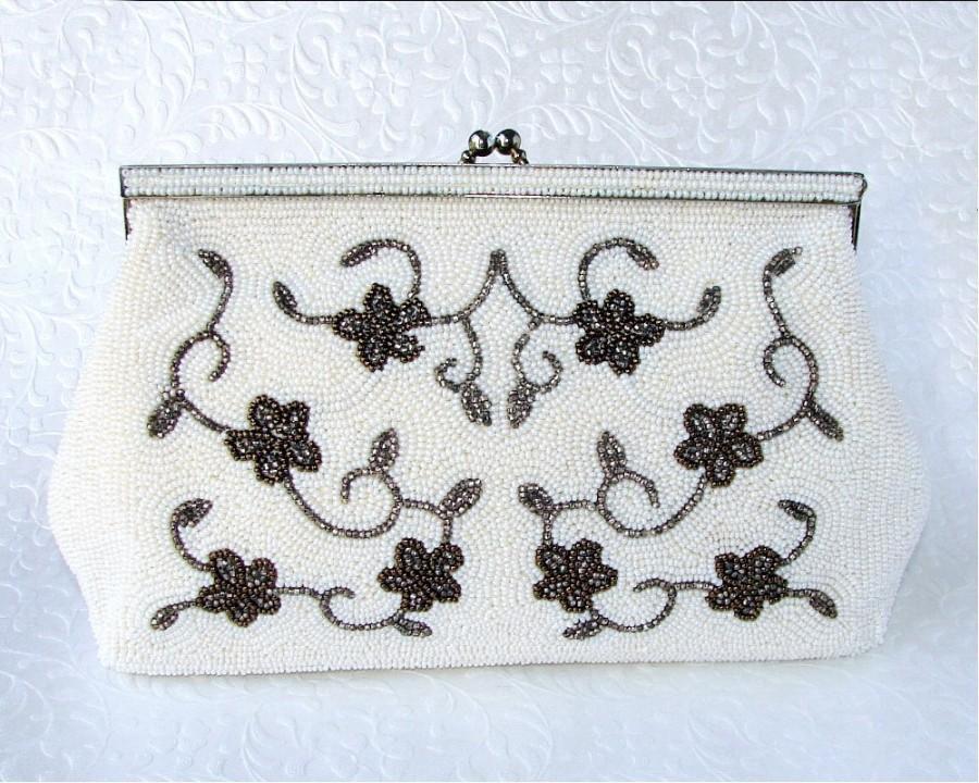 Wedding - Bag By Debbie Art Deco Style Vintage Beaded Purse Cream White Copper Colored Beads Flowers Vines Wedding Clutch Formal Handbag Boho Chic