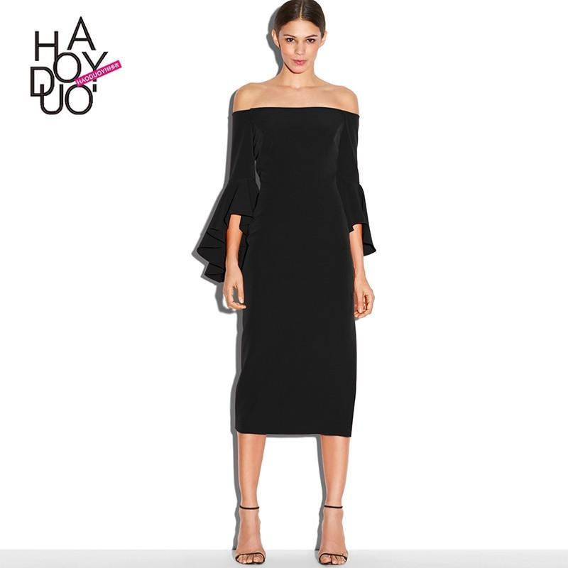 Wedding - Frilled Sleeves Slimming Bateau Summer Dress - Bonny YZOZO Boutique Store