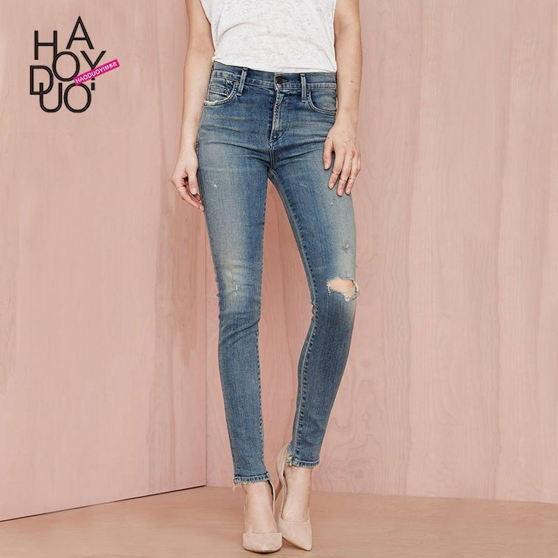 Wedding - Ladies fall 2017 new edging Street holes in old fashion foot washing jeans women - Bonny YZOZO Boutique Store