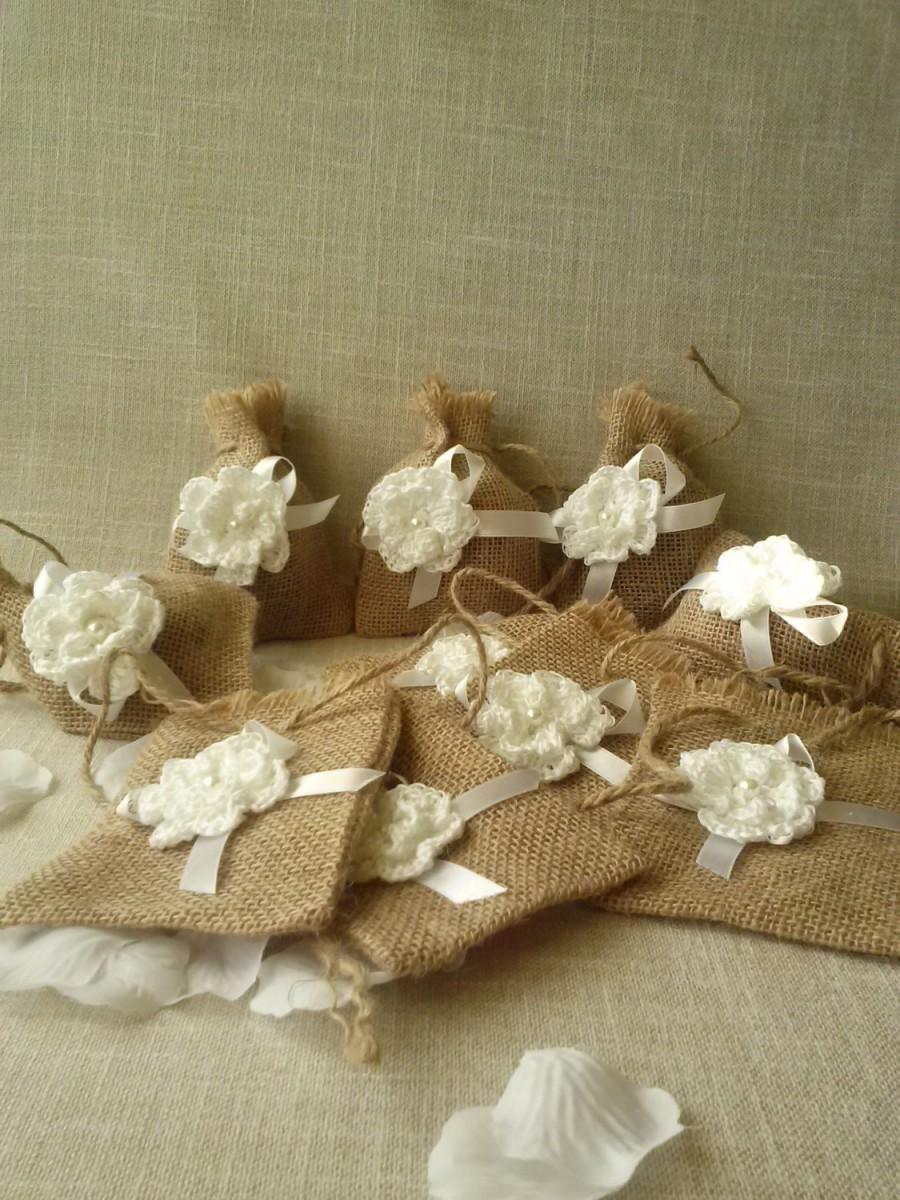 Mariage - Linen Gift Bag flower, Handmade Gift Bag, Wedding Bags, Christmas bags , Natural linen bag, jewelry packaging, linen wrap, Small linen bags
