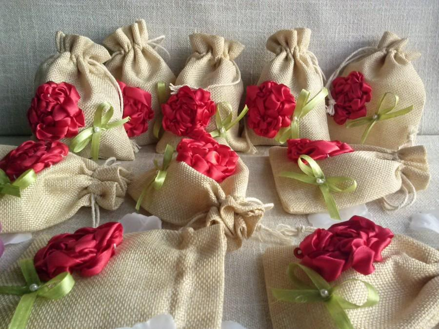 Свадьба - Linen Gift Bag flower, Handmade Gift Bag, Wedding Bags, Christmas bags , Natural linen bag, jewelry packaging, linen wrap, Small linen bags