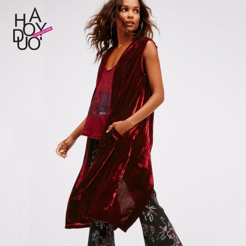 Mariage - Vogue Split Sleeveless One Color Fall Coat - Bonny YZOZO Boutique Store