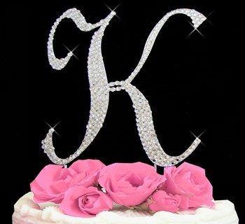Свадьба - Large Rhinestone Crystal Monogram Letter  K  Wedding Cake Topper 5 inches high