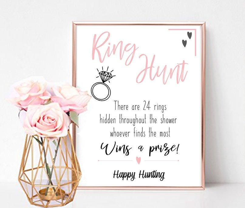 Wedding - Bridal Shower Sign, Ring Hunt Game (Printable)