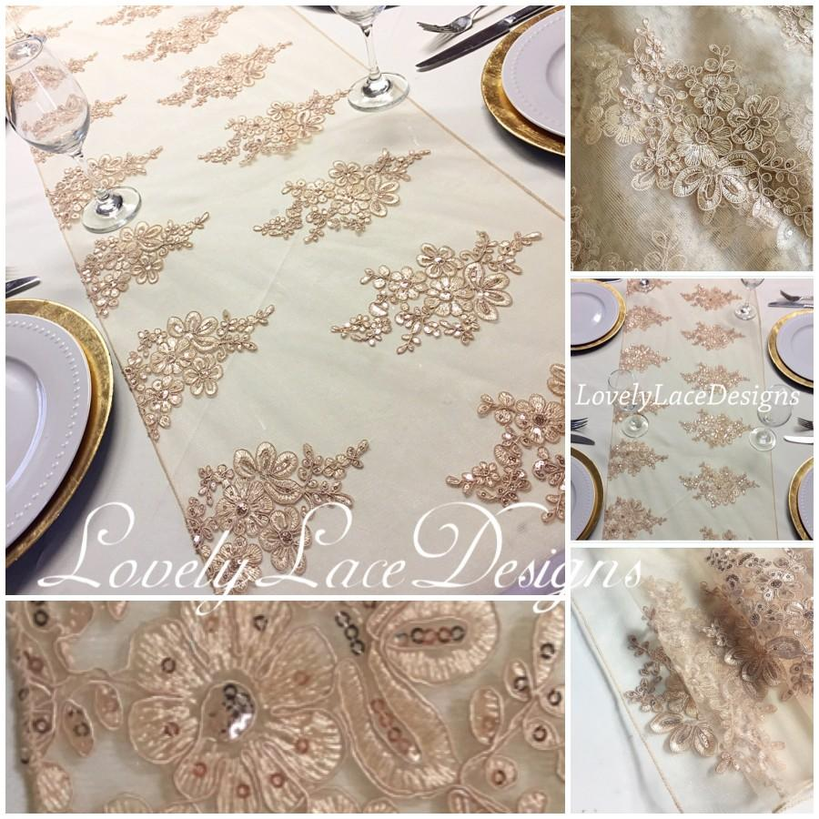 "زفاف - 8.5ft/Gold/Champagne Lace Table Runner/15"" wide x 90"" long/Wedding Decor/ Overlay/centerpiece/Weddings"